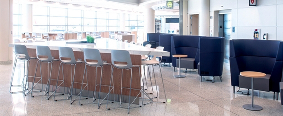 Midway Airport Food Court with Lucky Chairs and Stools