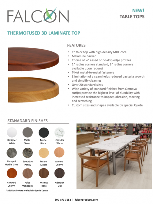 Thermofused 3D Laminate Table Tops