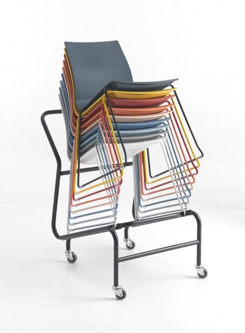 Trolly Skid Base Chairs- Black