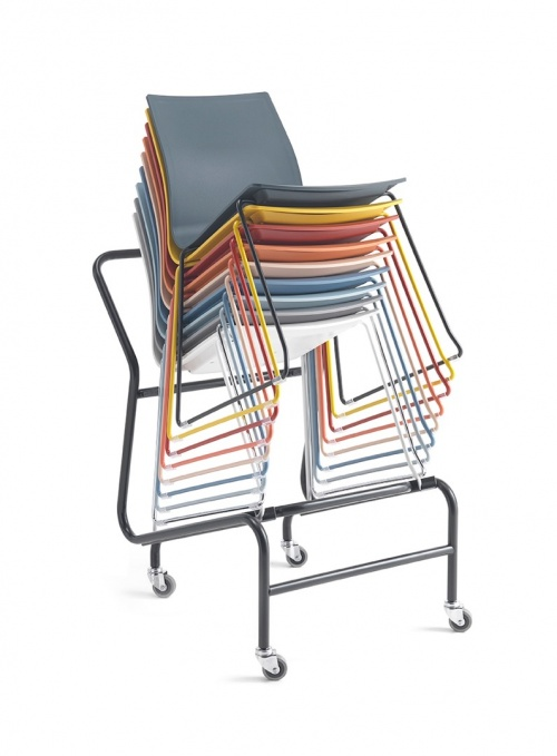 Trolly Skid Base Chairs- Black